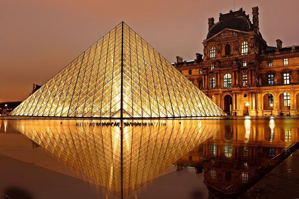 Louvre, Pyramid, Paris, Architecture, Tourism
