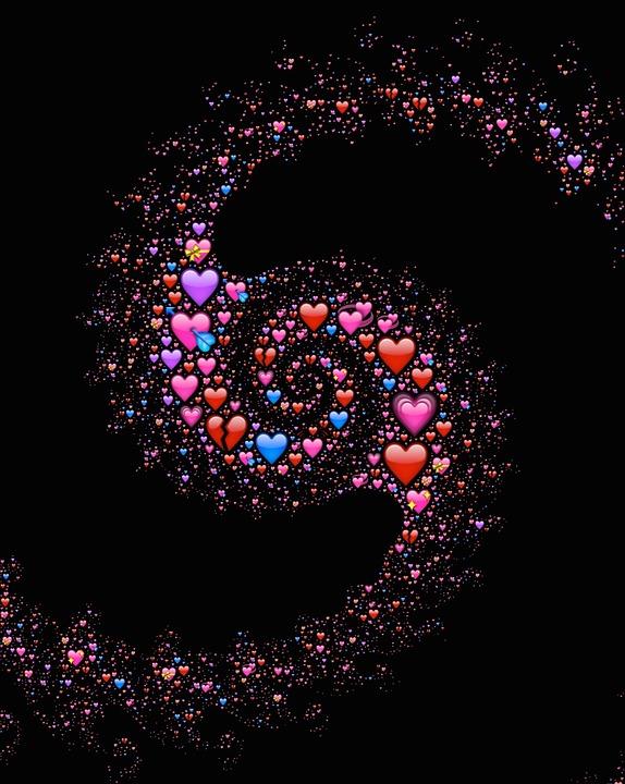 Free photo Love Affection Galaxy Hearts Emoji Spiral Cosmic