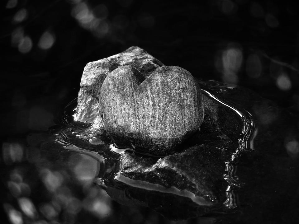 B W Photography Stone Heart Water Love