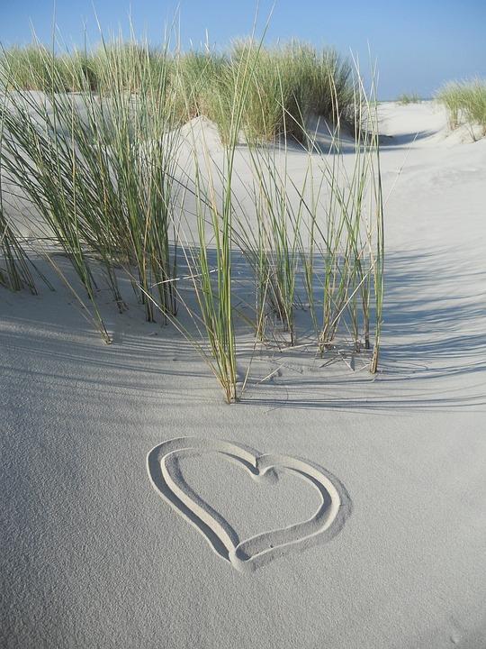 Dunes, Sand, Heart, Beach, Symbol, Sky, Love, Borkum