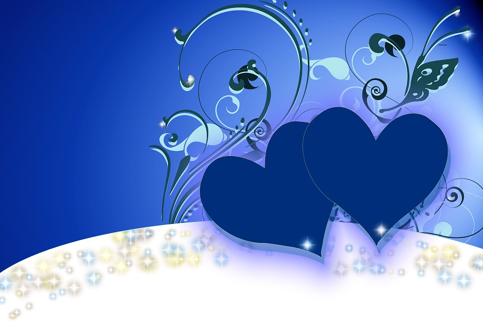 Heart, Love, Background, Floral, Blue, Decor