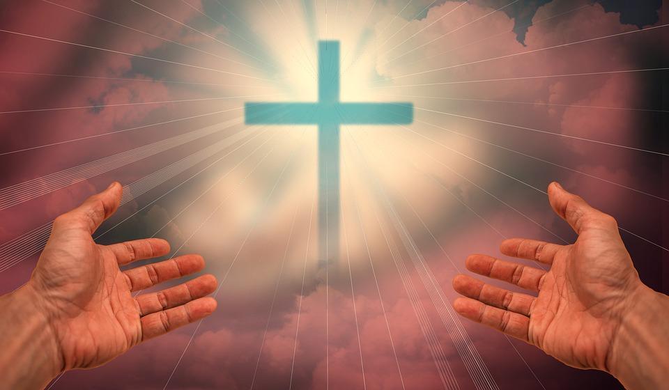 Faith, Love, Hope, Fog, Forest, Clouds, Cross, Hands