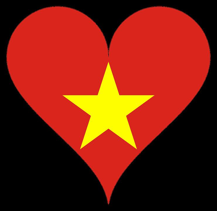 Heart, Love, Vietnam, Flag, Star, Asia, South, Symbol