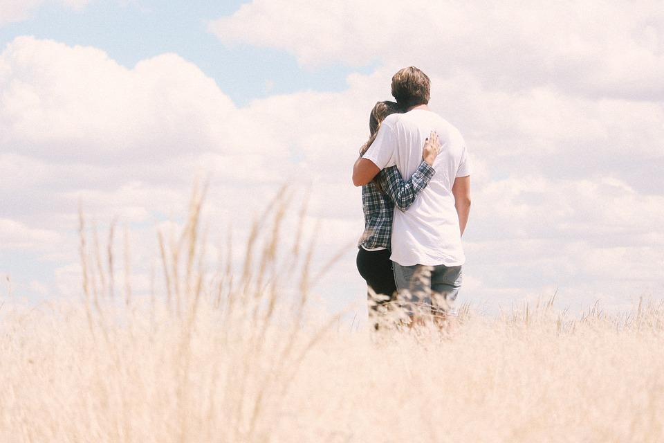 Sky, Grass, Outdoor, People, Couple, Love, Man, Guy