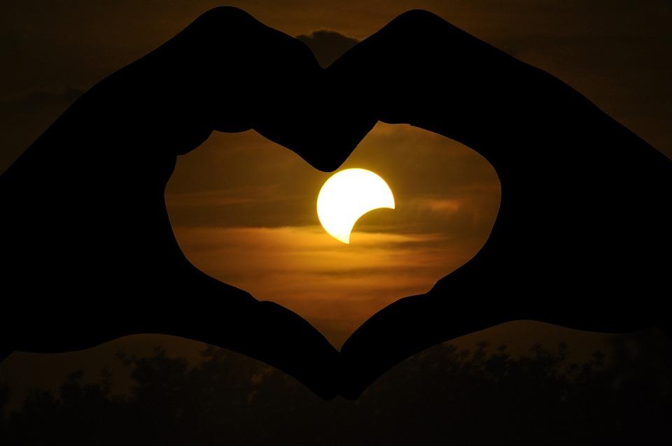 Solar Eclipse, Love, Heart, Hand, Evening