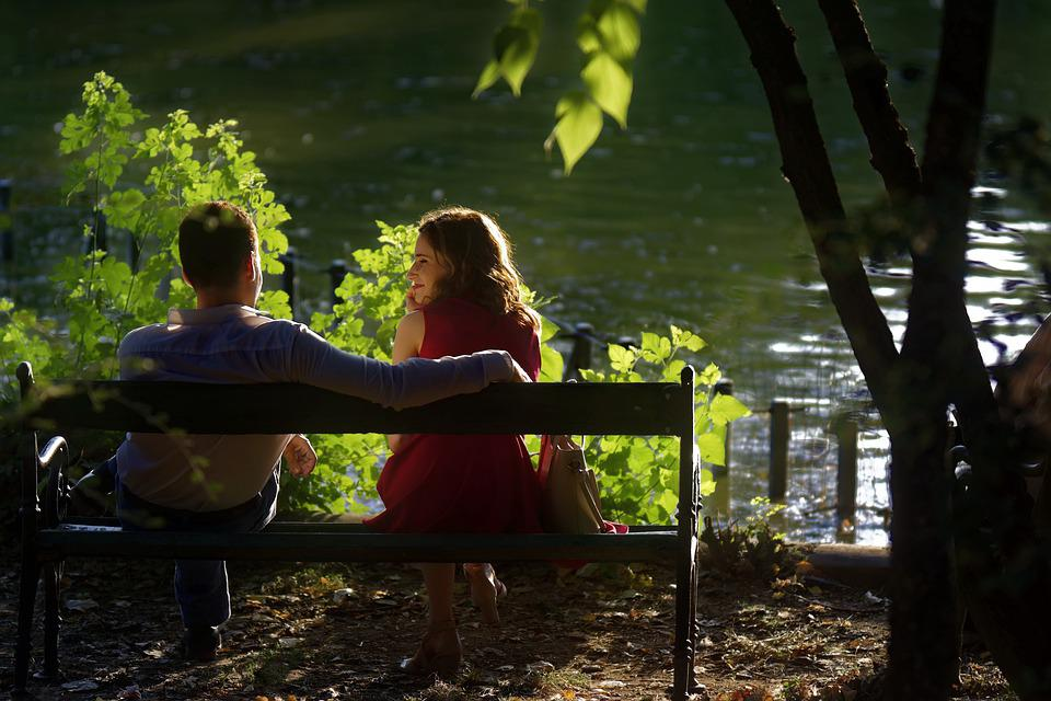 Couple, Happy, Bench, Lake, Date, Love