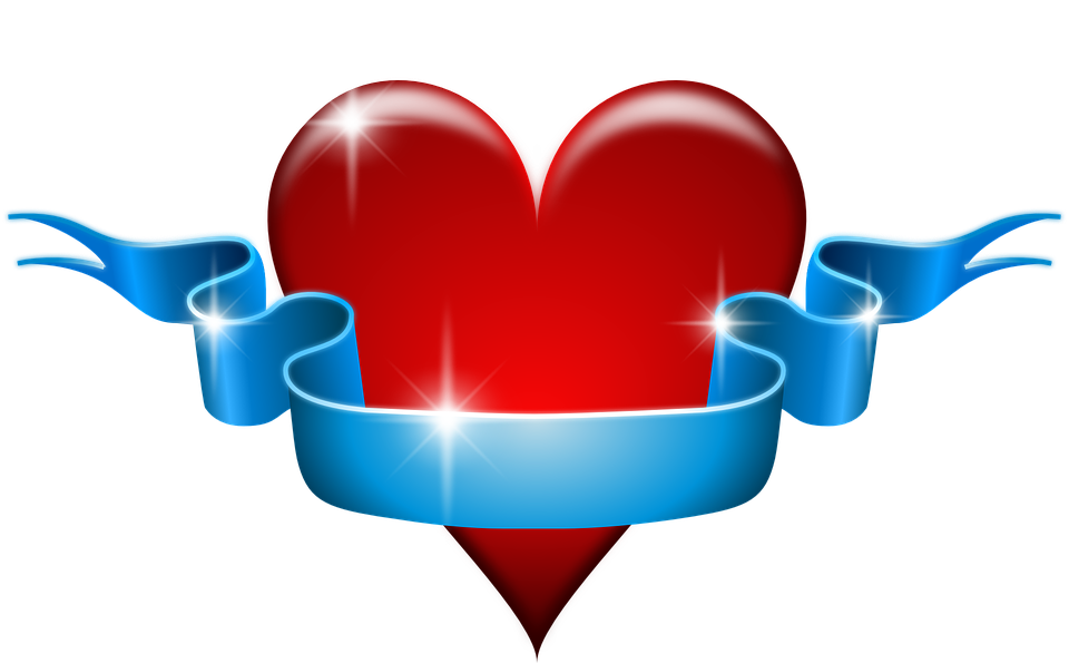 Heart, Love, Red, Blue, Ribbon, Banner, Affection