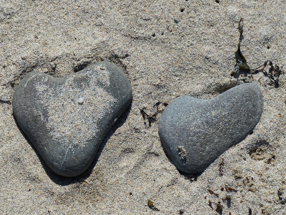 Heart, Stones, Sand, Love, Holiday