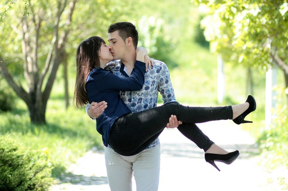 Couple, Love, Kiss, Hug, Beauty, Park