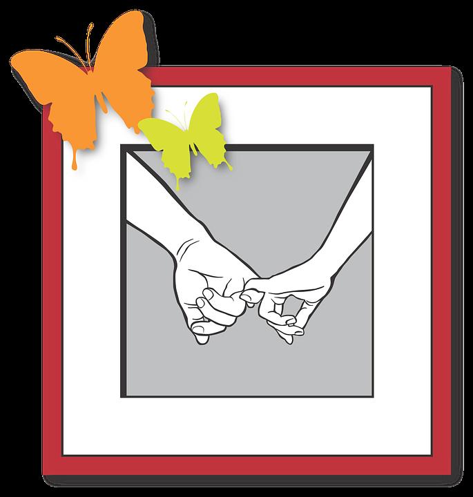 Love, Hands, Keep, Butterfly, Illustration, Frame