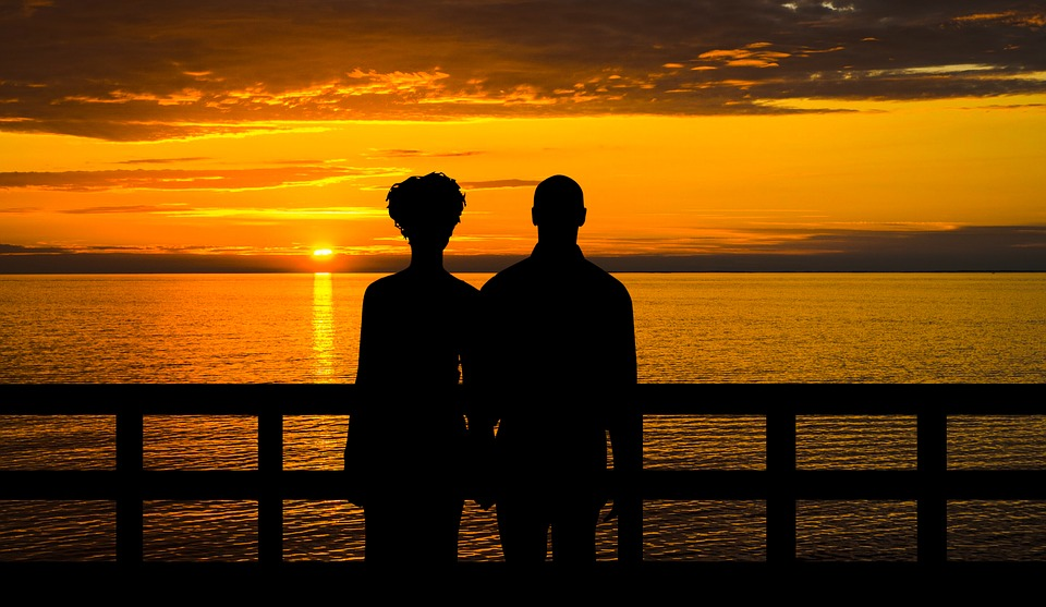 Couple, Romantic, Love, Sunset, Scene, Man, Woman