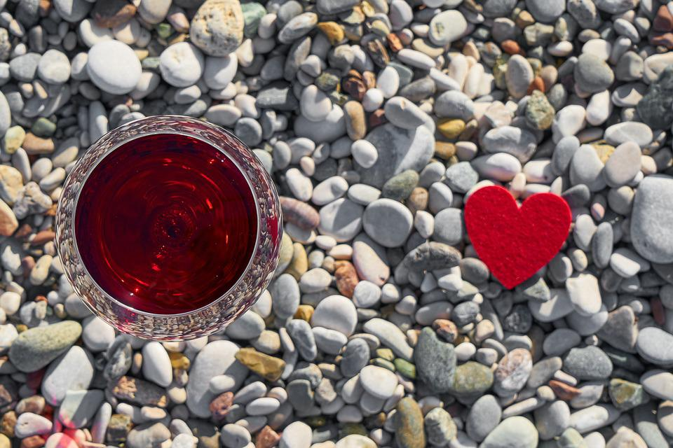 Wine, Valentine's Day, Love, Romance, Romantic, Heart