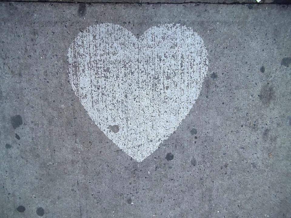 Heart, Sidewalk, Love, Street, Chalk, Valentine