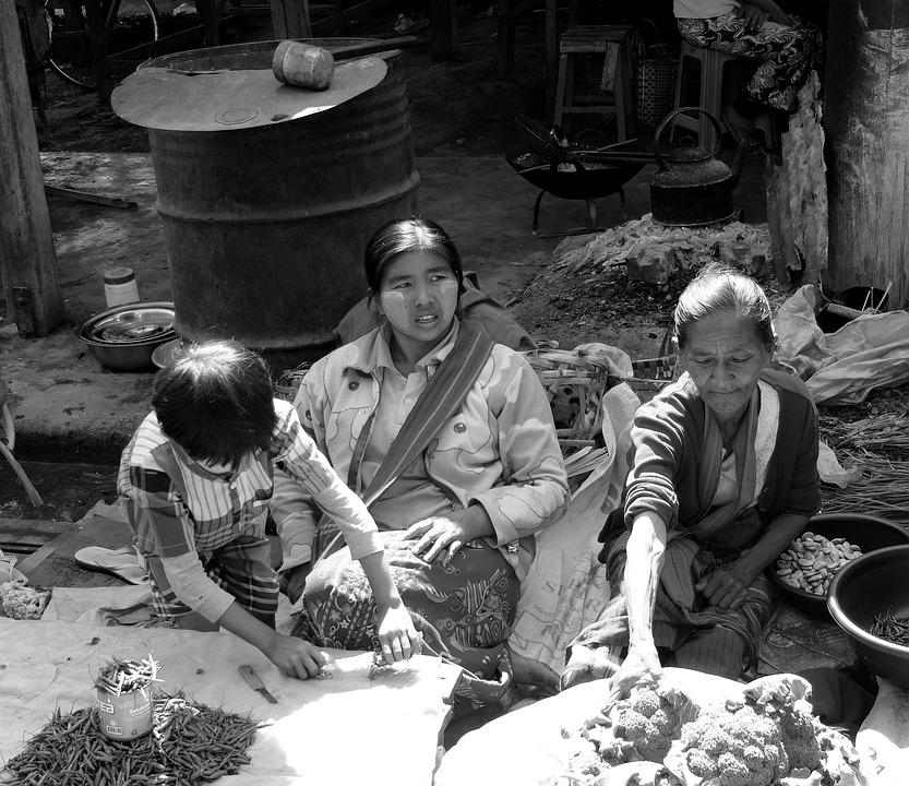 Family, Market, Happiness, Solidarity, Love, Burma