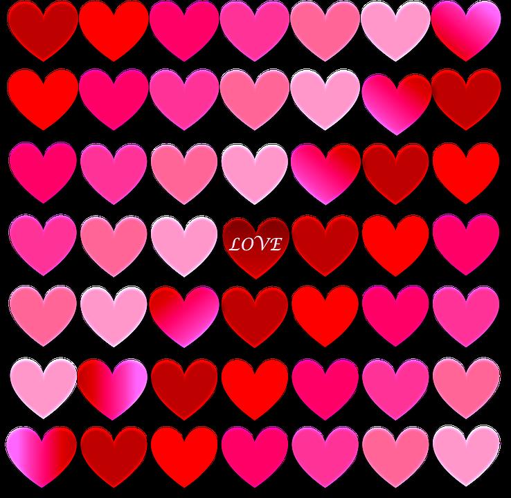 Heart, Love, Valentine, Red, Pink, Shades, Design