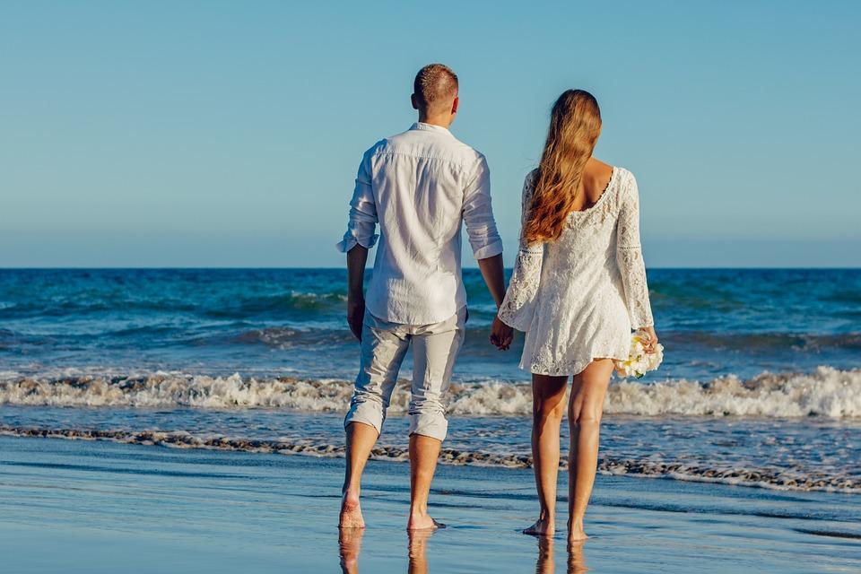Wedding, Beach, Love, Couple, Young Couple, Romantic