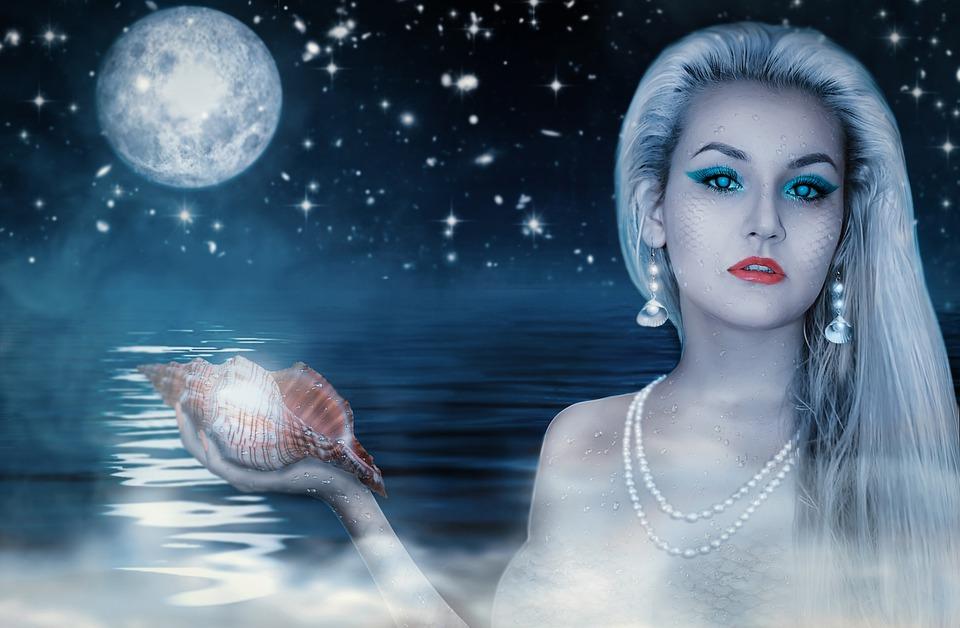 Lovely, Woman, Portrait, Girl, Water, Shining, Mermaid