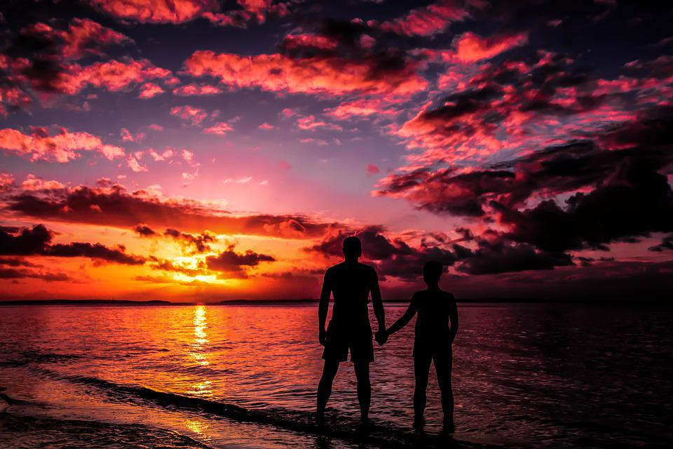Fraser Island, Australia, Sunset, Beach, Lovers