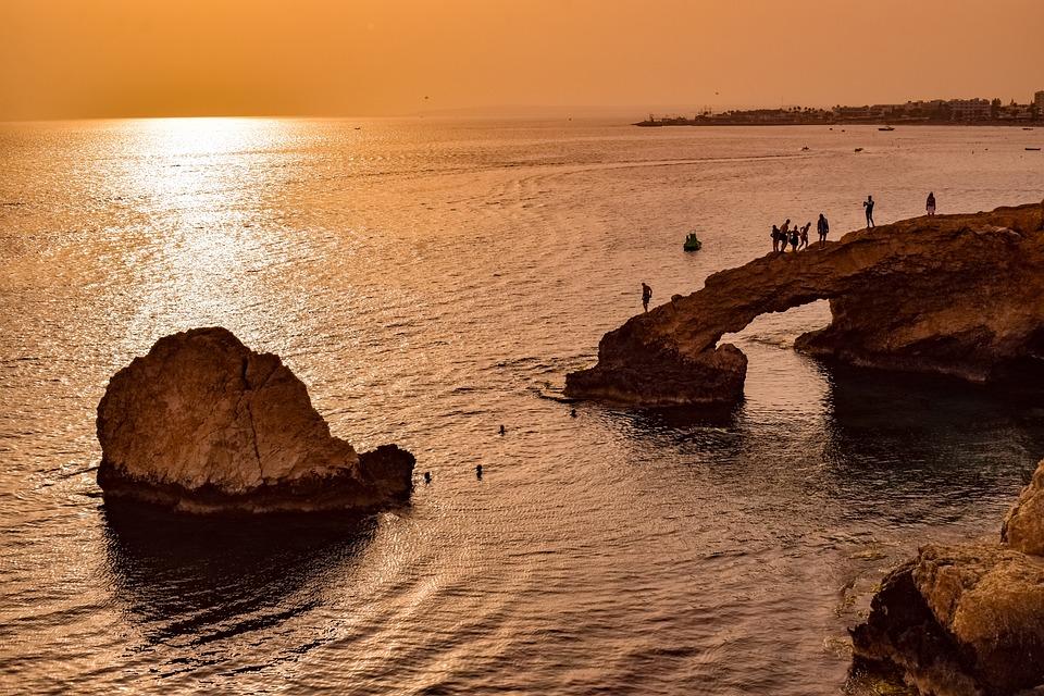 Cyprus, Ayia Napa, Lovers Bridge, Sunset, Sea, Rock