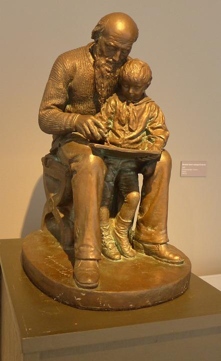 Sculpture, Grandpa And Grandson, Loving, Help