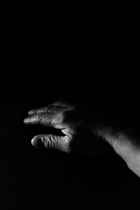 Hand, Old, Black And White, Low Key, Dark