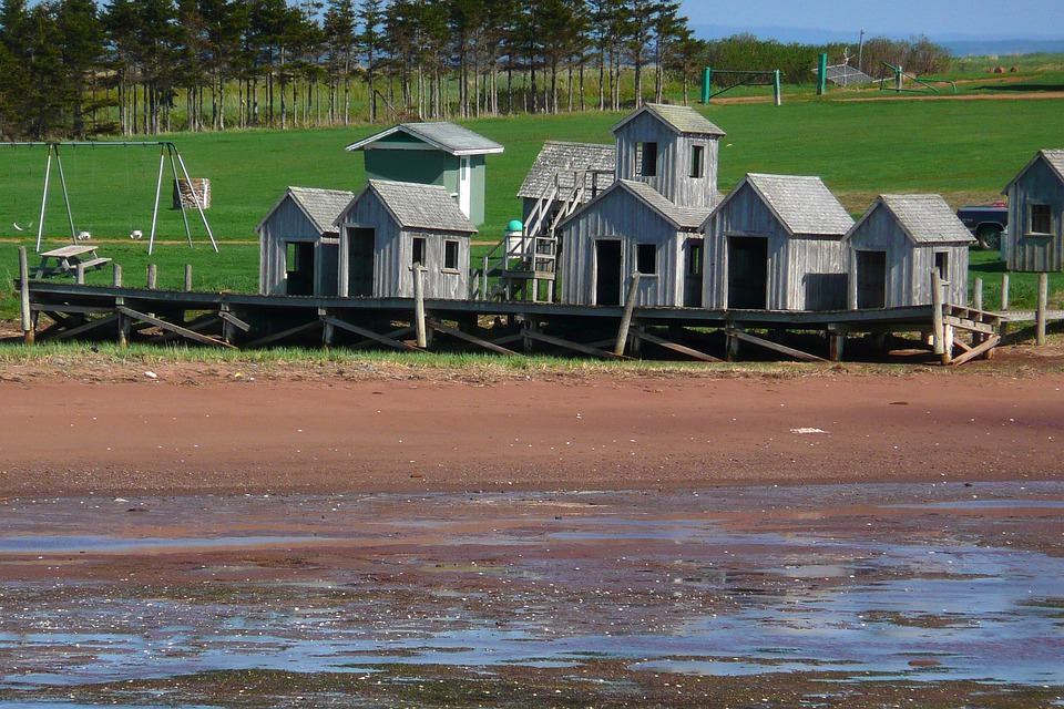 Fisher Huts, Heritage, Buildings, Beach, Ebb, Low Tide