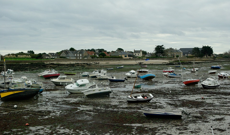 France, Normandy, Low Tide, Port