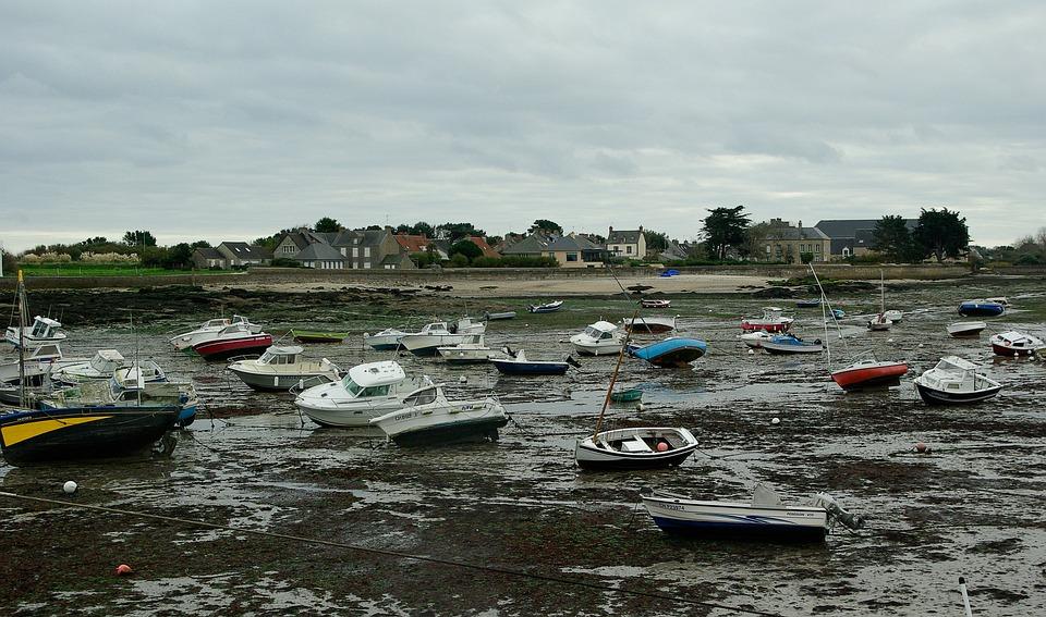 France, Normandy, Low Tide, Port