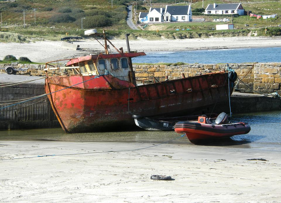 Boat, Rusty, Old, Low Tide, Ireland, Marine, Nautical