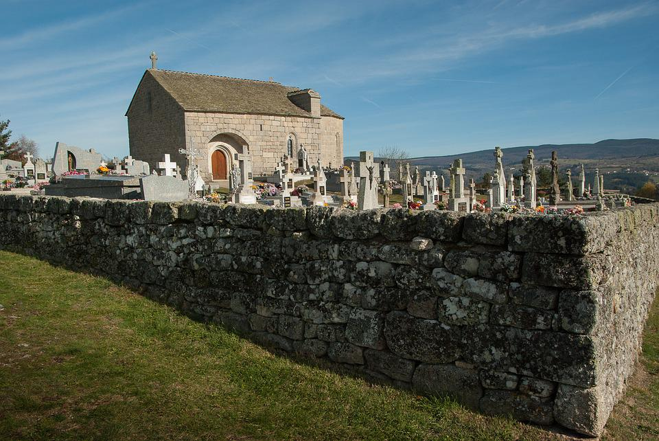 France, Lozère, Cemetery, Graves, Chapel