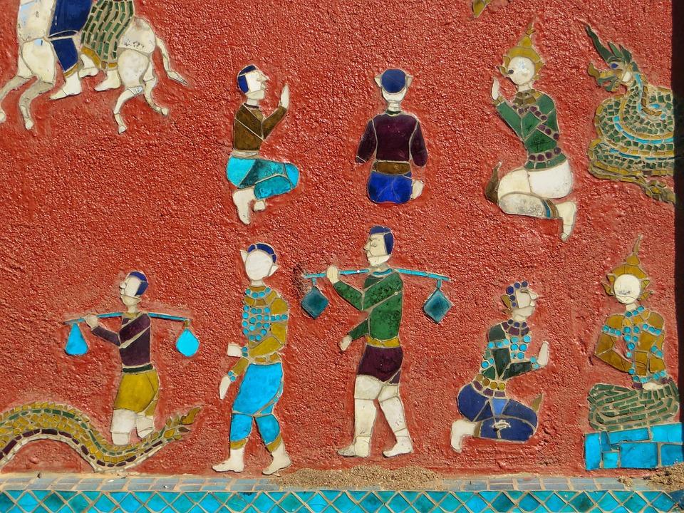 Laos, Luang Prabang, Vat Sen Soukharam, Mosaic, Mural
