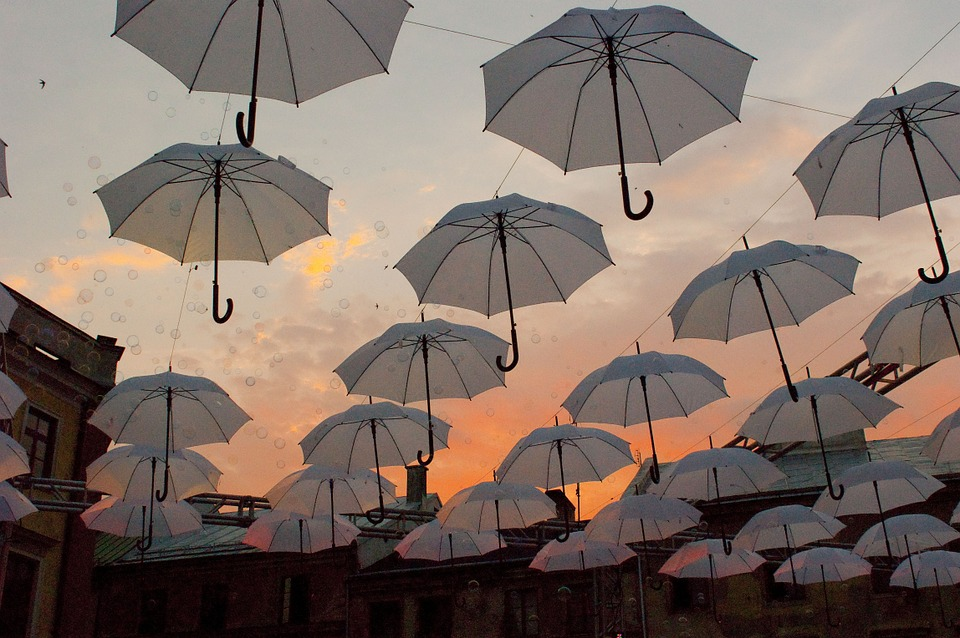Umbrellas, Decoration, City, Lublin, Sky
