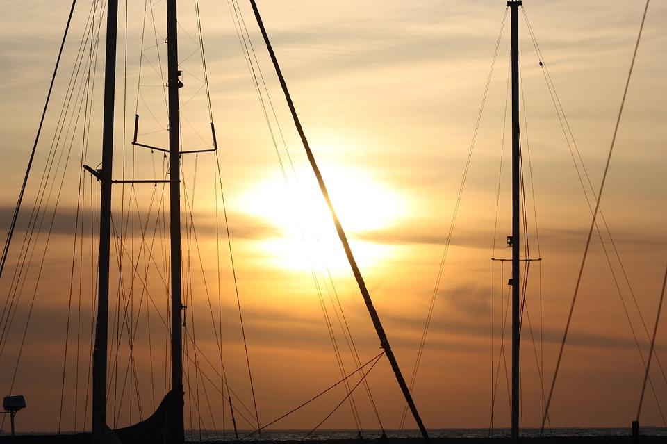 Sailing Boat, Boat Mast, Sea, Sunset, Lubmin