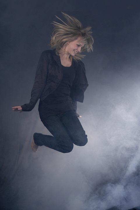 Young Woman, Jump, Blonde, Non, Happy, Luck, Carefree