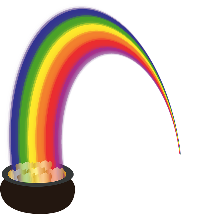 Graphic, Pot Of Gold, Lucky, Gold, Rainbow