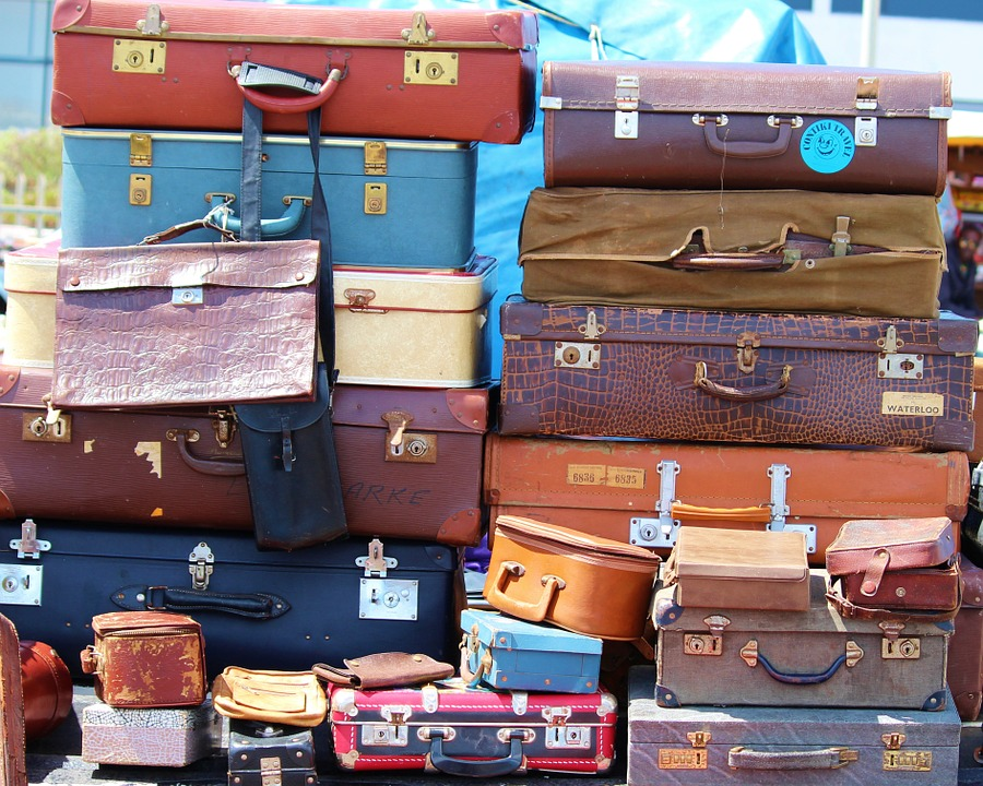 Luggage, Stack, Vintage, Boxes, Old, Flea Market