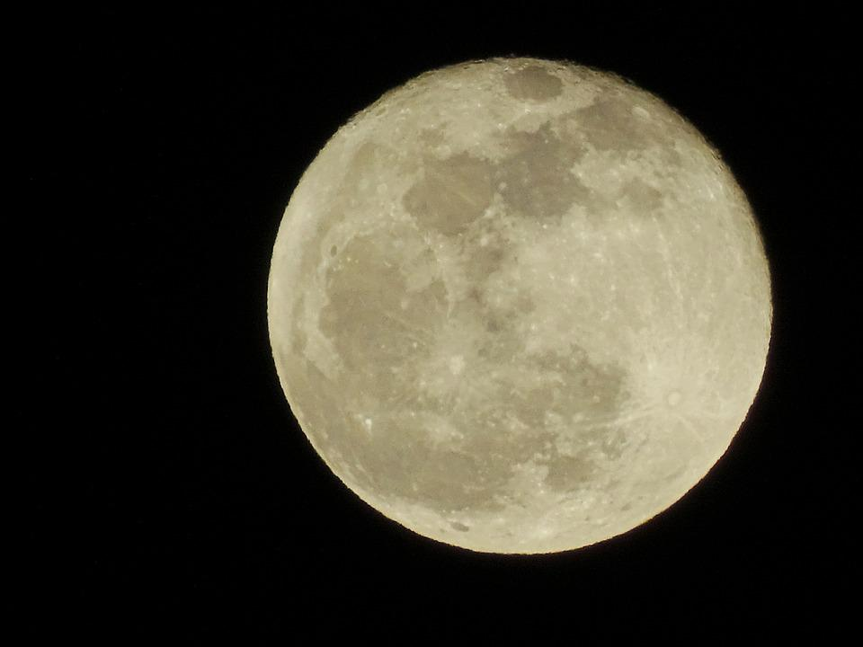 Luna, Sky, Night, Full Moon, Flare, Universe