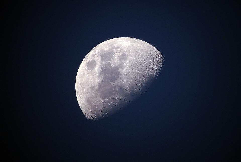 Moon, Blue, Sky, Universe, Celestial, Lunar, Bright
