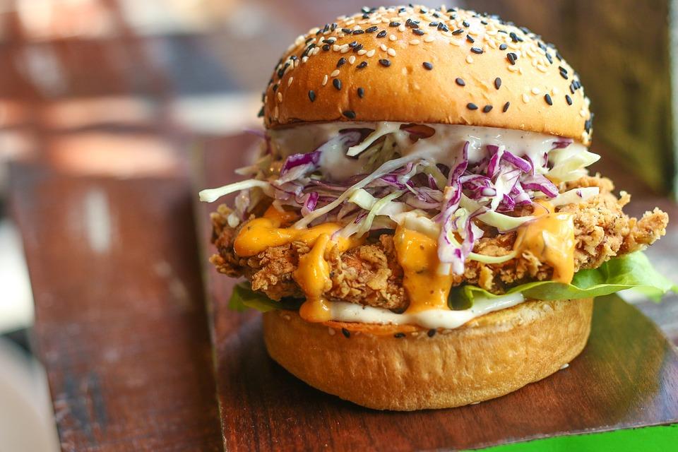 Chicken Burger, Lunch, Classic Burger, Break, Hamburger