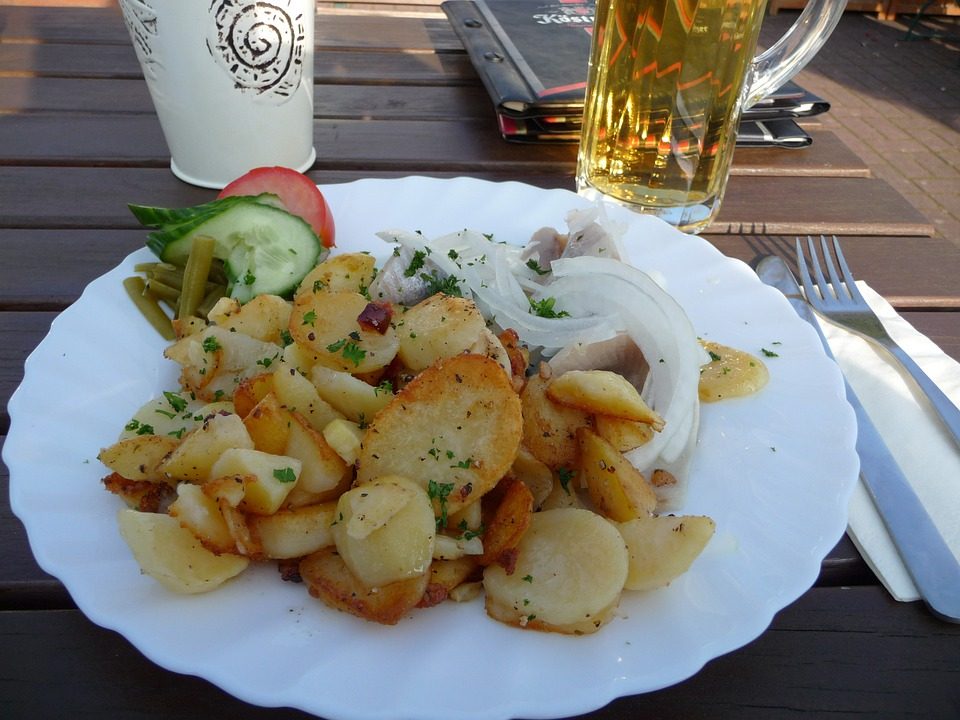 Fried Potatoes, Eat, Restaurant, Hearty, Lunch