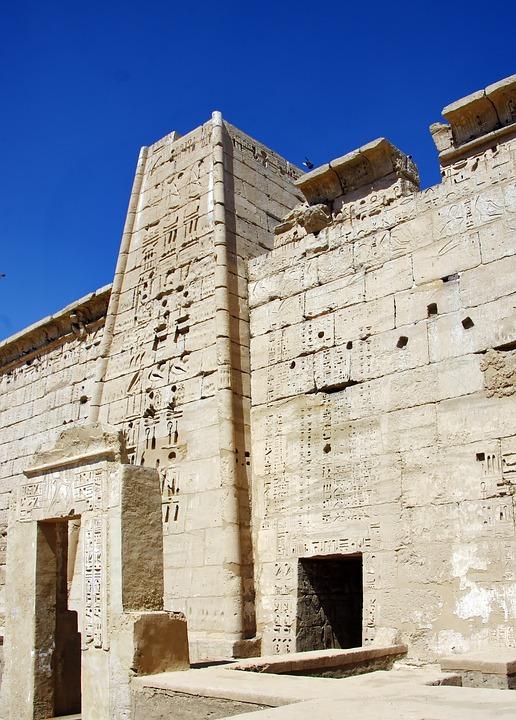 Egypt, Thebes, Luxor, Temple, Medinet Habu, Pylon