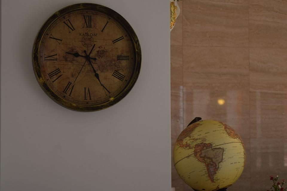 Clock, Globe, White, Old-fashioned, Luxurious