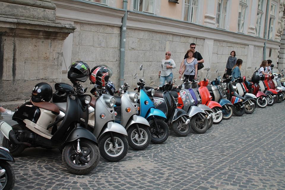 Motorcycles, Parking, Ukraine, Lviv, City Centre