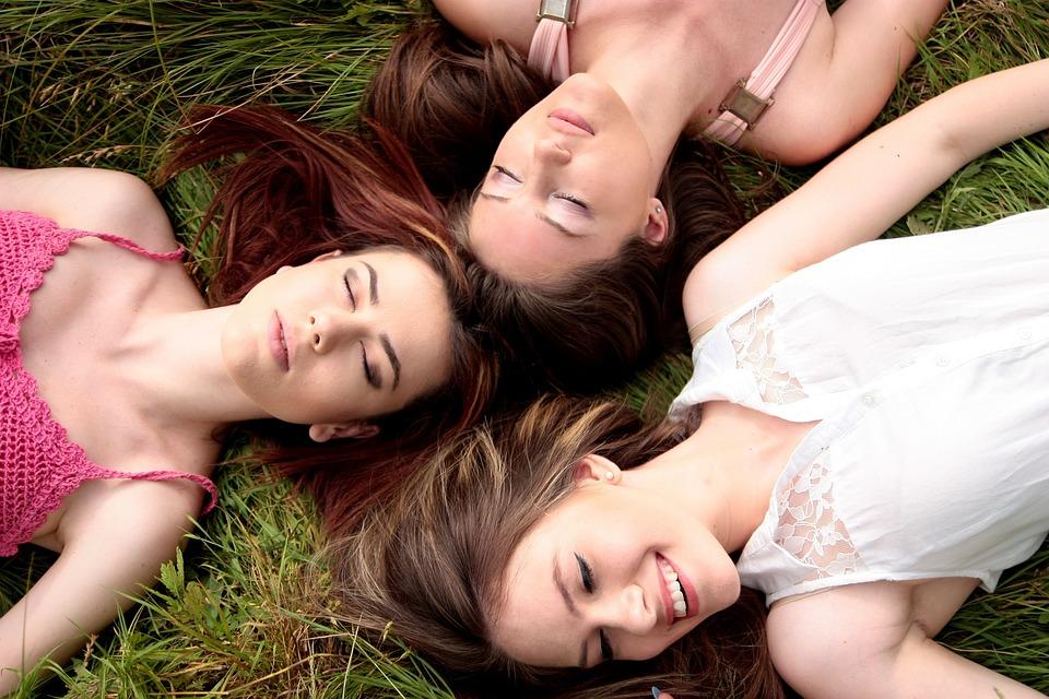 Women, Friends, Meadow, Lying, Girls, Buddy