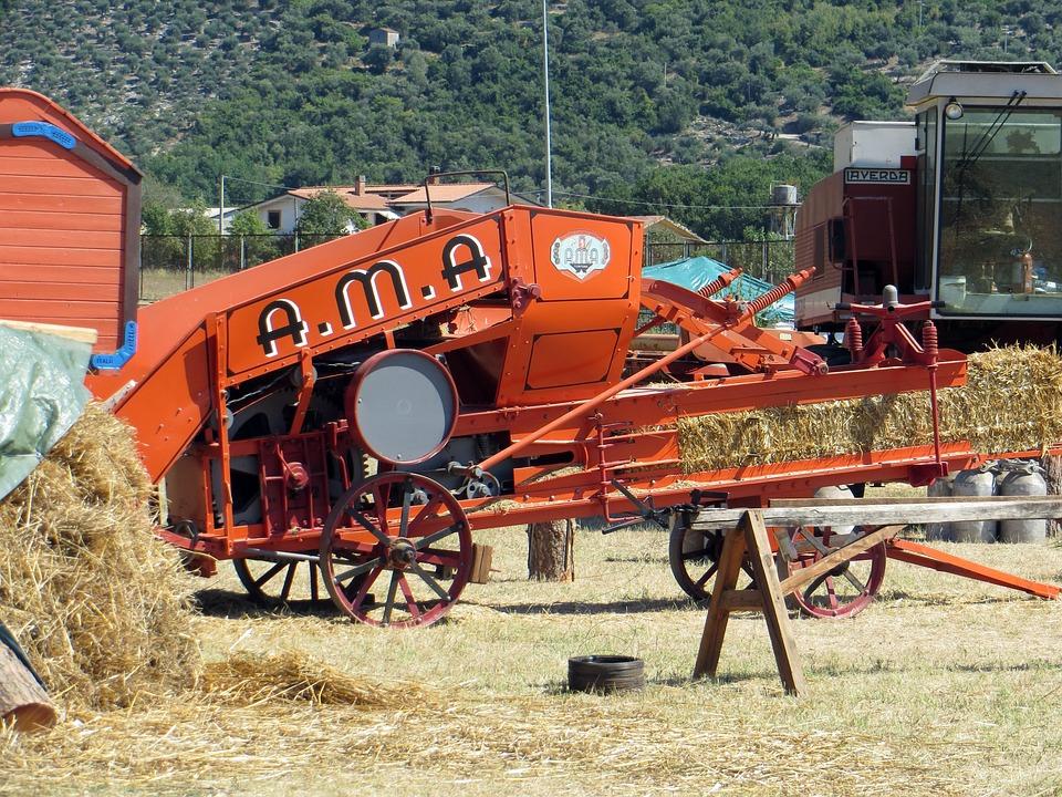 Machine, Agriculture, Threshing, Wheat, Hay