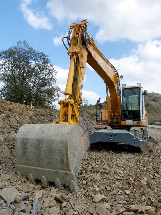 Excavator, Shovel, Machine, Construction, Road, Works