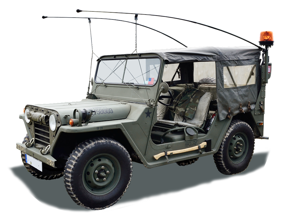 Auto, Jeep, Isolated, Green, Military, Machine