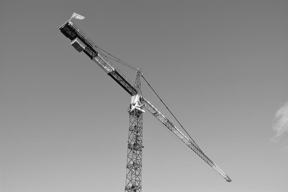 Crane, Site, Photo Black White, Building, Machine