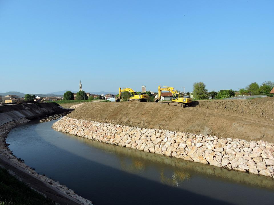 River, Excavator, Earthmoving, Revolving, Machinery