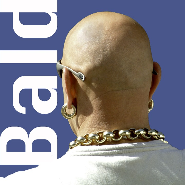 Bald, Man, Macho, Earring, Gold, Necklace, Heavy, Back